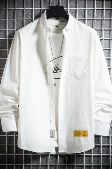 Simple Womens Solid Color Long Sleeve Lapel Neck Button Down Corduroy Long Loose Shirt
