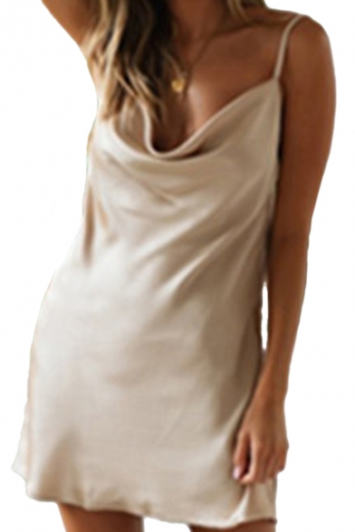Womens Cami Dress Satiny Solid Color Spaghetti Strap Sleeveless Cowl Neck Fitted Short Dress