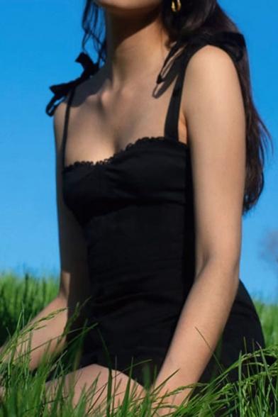 Womens Dress Fashionable Plain Stringy Selvedge Trim Slim Fitted Mini Sleeveless Tie Strap A-Line Dress