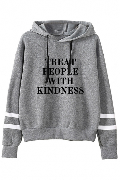 Chic Womens Hoodie Arm-Stripe Letter Treat People with Kindness Print Drawstring Loose Fit Long Sleeve Hoodie