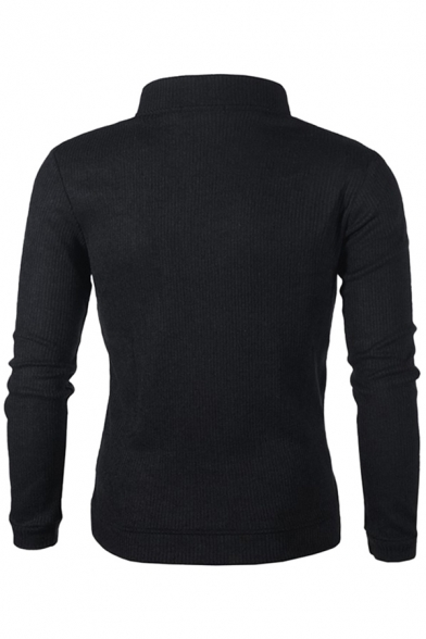 Classic Mens Pullover Sweatshirt Shoulder Patch Thickened Toggle-Button Detail Stand Collar Long Sleeve Slim Fitted Pullover Sweatshirt