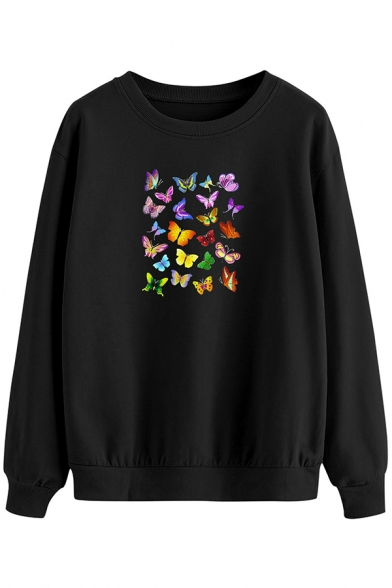 Colorful Womens Sweatshirt Butterfly Pattern Loose Fit Long Sleeve Crew Neck Pullover Sweatshirt