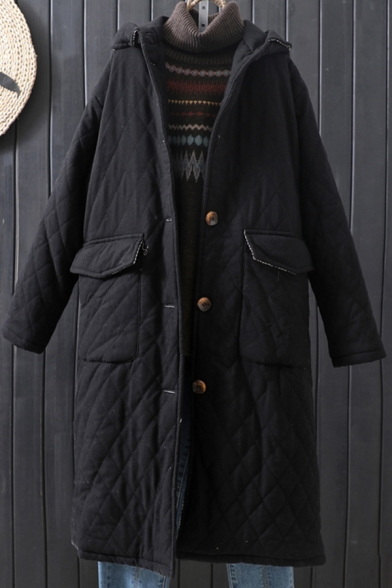 Leisure Women's Coat Solid Color Button-down Hooded Flap Pockets Long Sleeved Coat