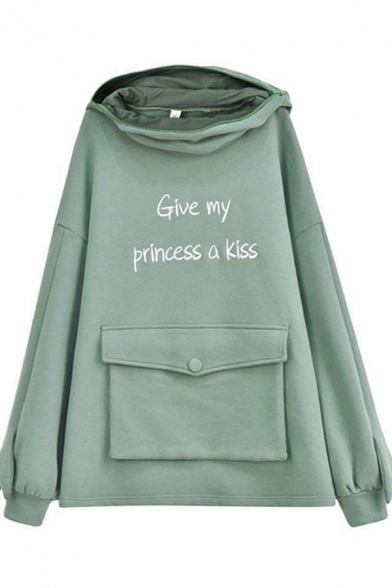 Womens Hoodie Fashionable Frog Cosplay Letter Give My Princess a Kiss Pattern Front-Pocket Horn Hood Long Sleeve Relaxed Fitted Hoodie