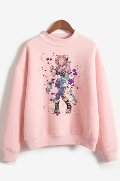 Basic Womens Sweatshirt Character Splatter Pattern Anime My Hero Academia Round Neck Long Sleeve Loose Fit Pullover Sweatshirt