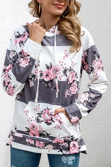 Novelty Womens Hoodie Color Block Horizontal Stripe Floral Print Drawstring Kangaroo Pocket Slim Fitted Long Sleeve Hoodie