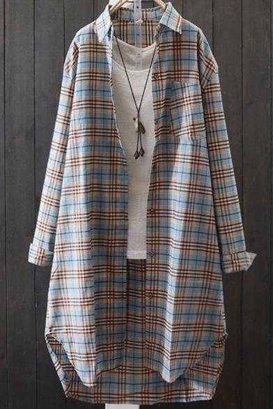 Novelty Womens Shirt Plaid Print Thin Cotton Linen Side Split Button Detail Long Roll-Tab Sleeve Tunic Turn-down Collar Loose Fit Shirt