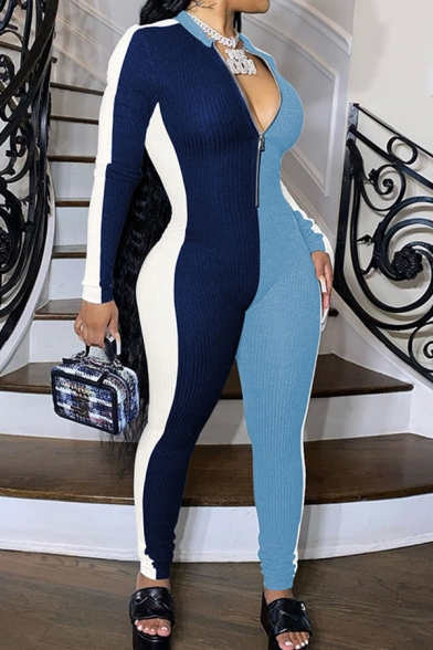Stylish Jumpsuit Color Block Contrast Panel 1/4 Zip Collar Long Sleeves Slim Fitted Jumpsuit for Women