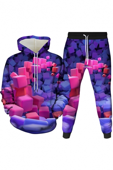 Vintage Mens Co-ords 3D Geometric Print Slim Fitted 7/8 Length Tapered Pants Long Sleeve Hoodie Jogger Co-ords