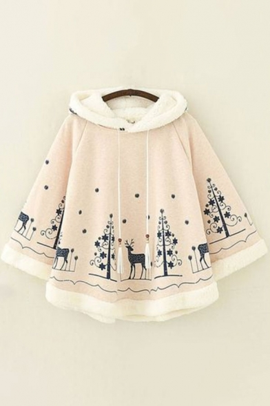 Womens Poncho Trendy Deer Snow Tree Star Pattern Tassel Drawstring Hooded Loose Fit Long Sleeve Poncho