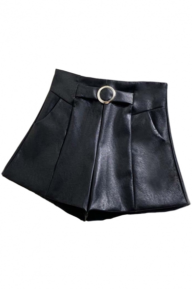 Classic Womens Shorts Solid Color Ring Belted Invisible Zipper Back High Rise Regular Fitted Wide Leg PU Shorts