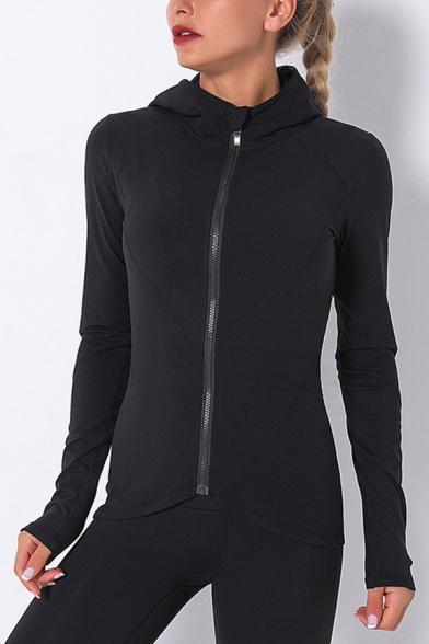 Elegant Womens Fitness Jacket Solid Color Finger Hole Zip Placket Asymmetrical Hem Long Sleeves Slim Fitted Hooded Jacket