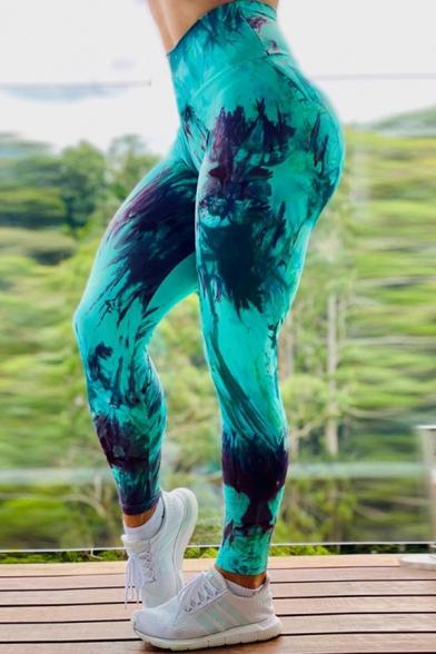 green patterned full length all over print exercise leggings