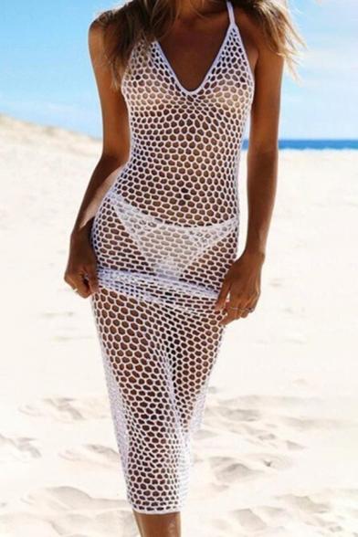 Fancy Women's Slip Dress Hollow out Transparent Detail Solid Color V Neck Sleeveless Slip Dress