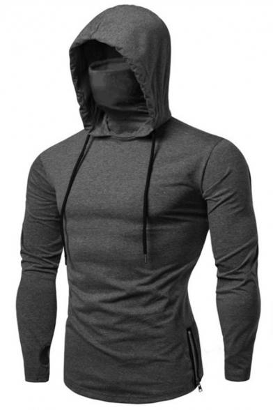 Mens Hooded Sweatshirt Simple Solid Color Masked Zipper Side Drawstring Slim Fitted Long Sleeve Hoodie