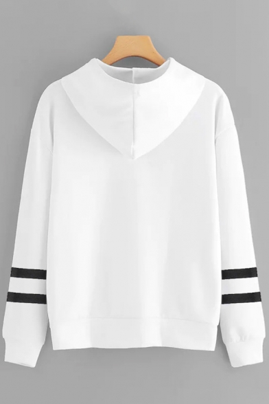 Unique Womens Hoodie Sleeping Egg Letter Five More Minutes Arm-Stripe Pattern Drawstring Long Sleeve Relaxed Fitted Hooded Sweatshirt
