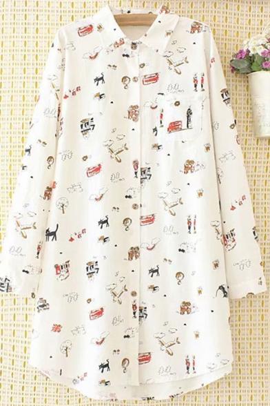 Unique Womens Shirt Doodle Cartoon Cat Plane Tree Figure Print Spread Collar Button Detail Tunic Loose Fit Long Sleeve Shirt