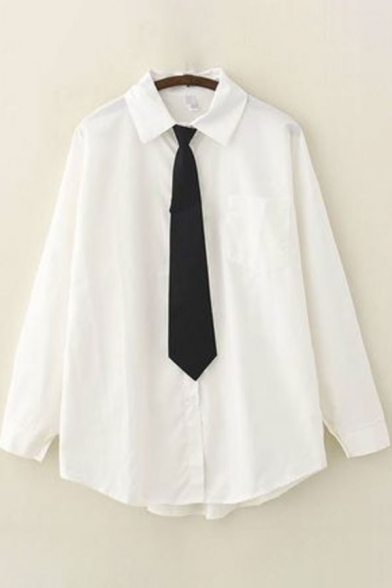 Womens Shirt Stylish Cat Fishbone Letter Embroidered Tie Curved Hem Button down Long Sleeve Spread Collar Loose Fit Shirt