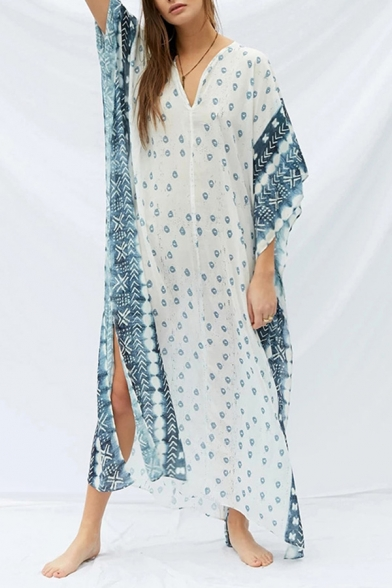 Beach Style T-Shirt Dress All over Printed Side Slits V Neck Half Sleeve Relaxed Fit T-Shirt Dress for Women
