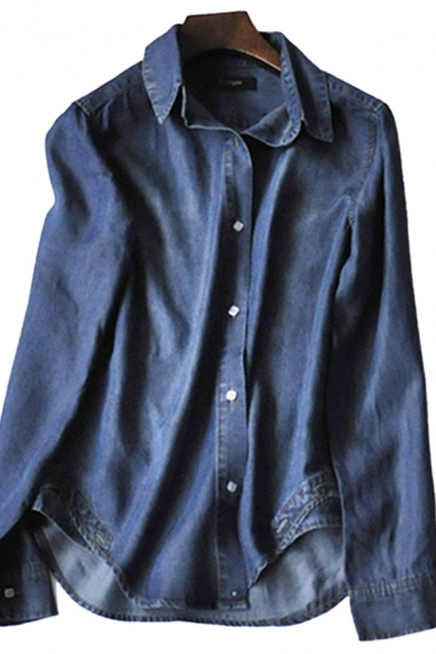 Casual Women's Denim Jacket Button Fly Turn-down Collar Long-sleeved Regular Fitted Denim Jacket with Washing Effect