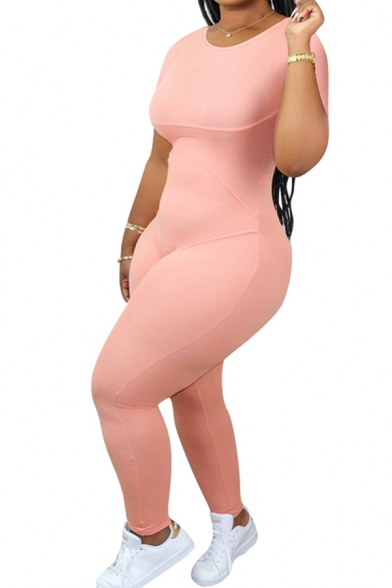 Casual Women's Jumpsuit Solid Color Elasticity Waist Banded Contrast Stitching Round Neck Short Sleeves Slim Fitted Jumpsuit