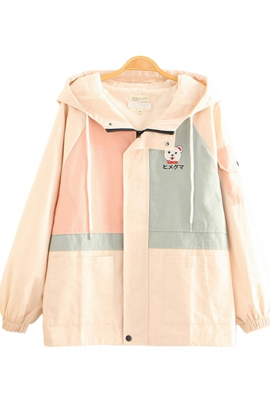 Basic Womens Jacket Color Block Panel Bear Japanese Letter Embroidery Pockets Zipper up Hooded Loose Fit Long Sleeve Casual Jacket