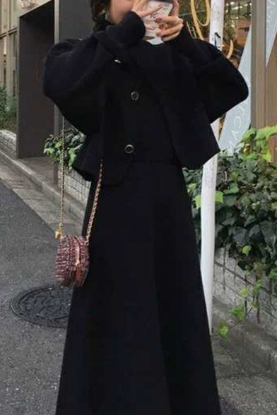 Fancy Women's Set Coat Solid Color Button-down Round Collar Long Sleeves Regular Fitted Woolen Coat with A-Line Skirt Co-ords