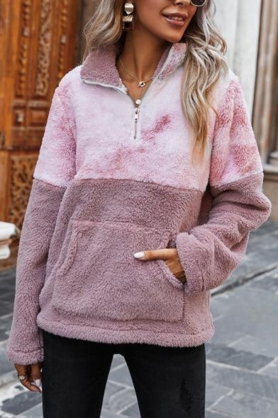 Fashionable Sweatshirt Color Block Tie Dye Pattern Zipper Detail Long-sleeves Regular Fitted Fur Sweatshirt for Women