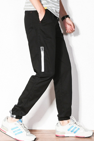 Guys New Fashion Letter Printed Zipped Pocket Side Velcro Gathered Cuff Drawstring Waist Casual Tapered Pants