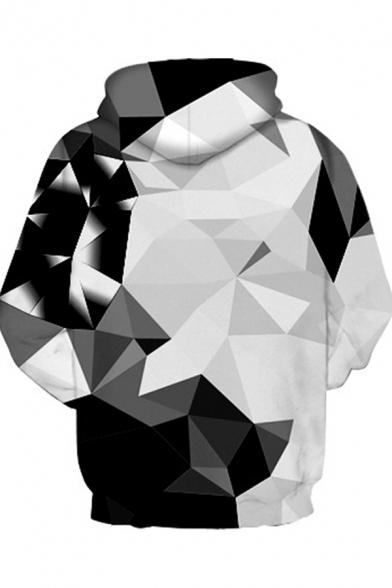 Novelty Womens 3D Hoodie Contrast Geometric Print Drawstring Kangaroo Pocket Slim Fitted Long Sleeve Hoodie