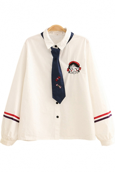 Retro Womens Shirt Beauty Candy Letter Embroidery Arm-Stripe Button up Spread Collar Long Sleeve Loose Fit Shirt with Tie