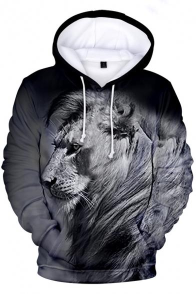 3D Lion Pattern Long Sleeve Unisex Loose Hoodie