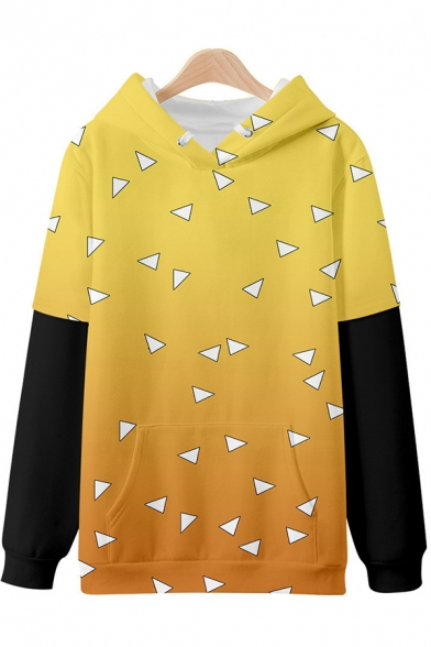 Cool Mens 3D Hoodie Geometric Checkered Abstract Fire Cloud Floral Chinese Letter Pattern False Two Pieces Drawstring Long Sleeve Loose Fit Hoodie