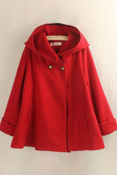 Creative Womens Poncho Solid Color Thick Hooded Button Detail Mid-Length Loose Fit Long Rolled Sleeve Woolen Poncho