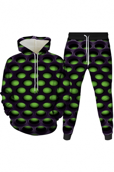 Mens Co-ords Creative 3D Pattern Drawstring Long Sleeve Hooded Sweatshirt Ankle Length Tapered Pants Slim Fit Jogger Co-ords