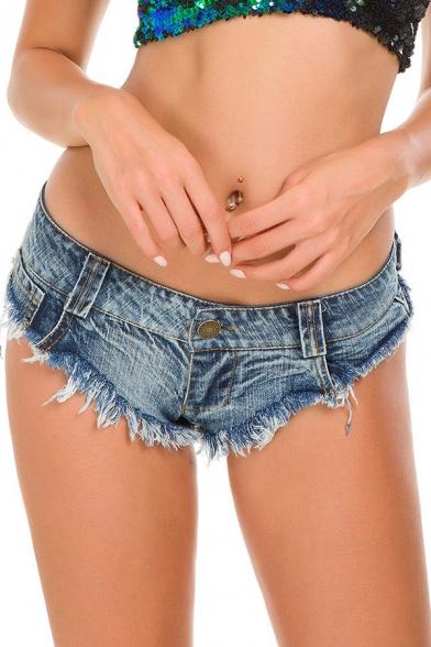 Retro Womens Denim Shorts Frayed Hem Slim Fitted Low Waist Ultra-Short Triangle Shorts with Washing Effect