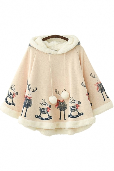 Retro Womens Poncho Deer Pattern Thick Fuzzy-Ball Drawstring Long Sleeve Hooded Loose Fit Poncho