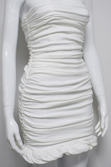 Sexy Womens Bodycon Dress Solid Color Pleated Strapless Ruffles Hem Sleeveless Slim Fitted Bodycon Dress