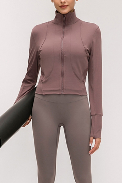 Elegant Women's Yoga Jacket Solid Color Contrast Panel Zip Closure Finger Hole Stand Collar Long Sleeves Slim Fitted Jacket