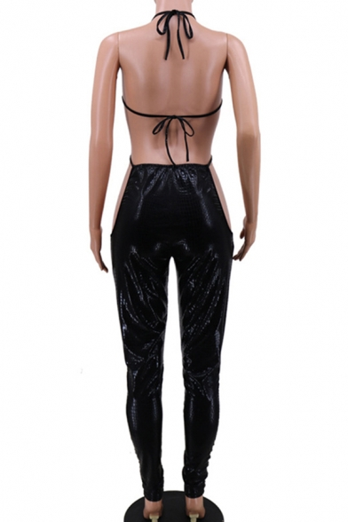 Elegant Womens Jumpsuit Bright Solid Color Hollow out Backless V Neck Sleeveless Slim Fitted Jumpsuit