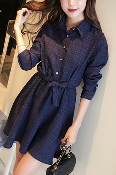 Fancy Women's Shirt Dress Plaid Pattern Tied-Waist Button Detail Turn-down Collar Long Sleeves Fitted Shirt Dress