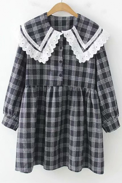 Lovely Girls' Long Sleeve Peter Pan Collar Plaid Printed Lace Trim Short Pleated Doll Dress