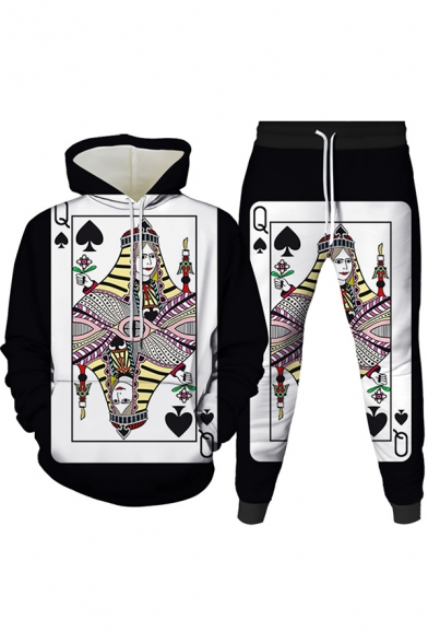 Mens Co-ords Trendy 3D Poker Fire Dice Pattern Slim Fitted 7/8 Length Tapered Pants Long Sleeve Hoodie Jogger Co-ords