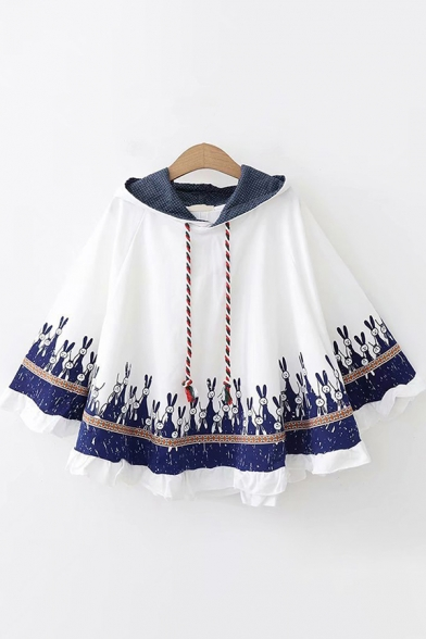 Novelty Womens Poncho Contrast Rabbit Pattern Stringy Selvedge Hem Ear-Hood Drawstring Long Sleeve Loose Fitted Poncho