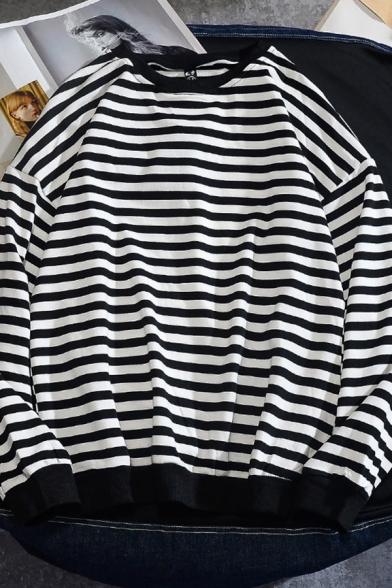 Vintage Mens Sweatshirt Horizontal Stripe Pattern Long Drop-Sleeve Relaxed Fit Crew Neck Pullover Sweatshirt