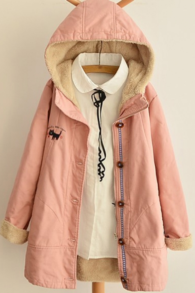 Womens Parka Trendy Cat Letter Embroidery Thick Button down Loose Fit Long Sleeve Mid-Length Hooded Parka