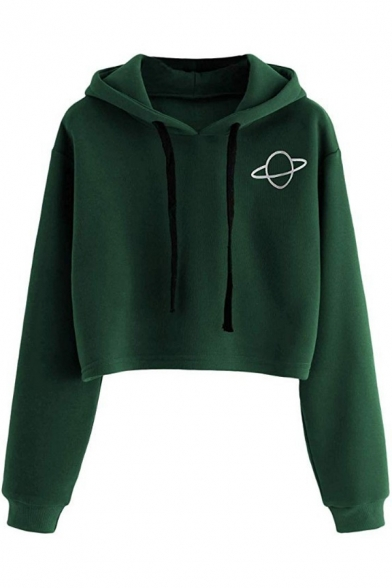 Womens Simple Letter DOUBLE Embroidery Long Sleeve Green Crop Hoodie