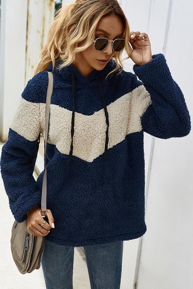 Basic Hooded Sweatshirt Color Block Faux Fur Drawstring Detail Long-sleeved Regular Fitted Hoodie