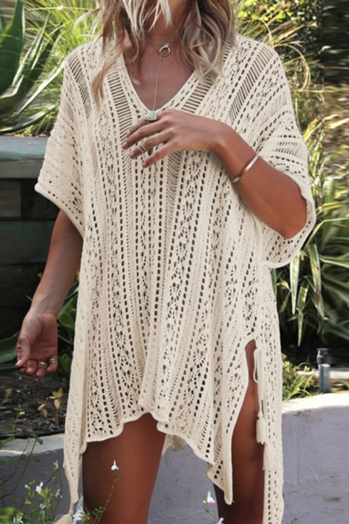 Cozy Women's T-Shirt Dress Broderie Design Solid Color Side Slits Asymmetrical V Neck Half Sleeves T-Shirt Dress