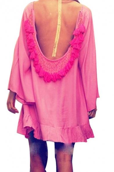 Elegant Swing Dress Tassel Detail Contrast Panel Contrast Color Ruffles Backless Tie Long-sleeves Short Swing Dress for Women